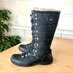 UGG 🇦🇺 Tall Black Nylon and Leather Winter Boots